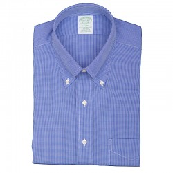 BROOKS BROTHERS CAMICIA BOTTON DOWN NON IRON PIED DE POULE AZZURRO